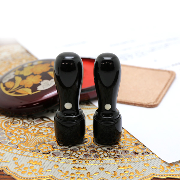 会社用印鑑2点セット 芯持ち黒水牛 丸印18.0ミリ+丸印16.5ミリ